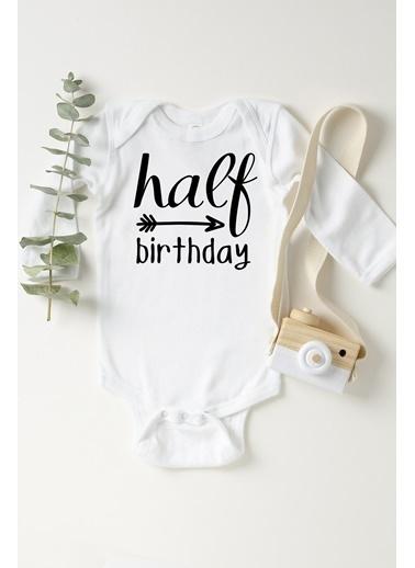 Happy Onesie Co Half Birthday Çıtçıtlı Bebek Body Beyaz